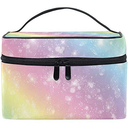 Galaxy Rainbow Glitter Star Femmes Voyage Sac Cosmétique Portable Maquillage Train Case Trousse De Toilette Beauté Organisateur