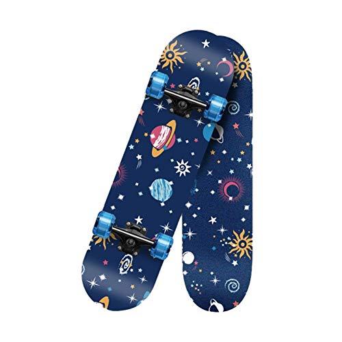 KHUY Skateboard Longboard 80 X 20cm Skateboard Cruiser para Adulto y Ni?os, Monopatin 7 Capas Arce Longboard Surfskate Completos para Niños Niño Chica Niia Principiantes (Color : Style K)
