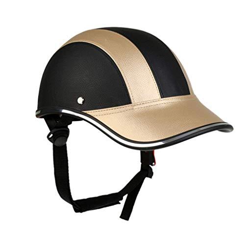 Motorcycle Open Face Leather Helmet Men Women Lightweight Baseball Cap Style Half Helmet DOT Certified Street Bicycle Road Bike Cycling Helmet,Adjustable,54~62CM
