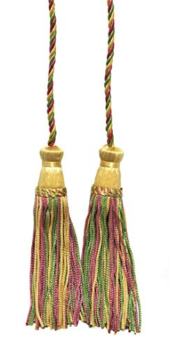 Set of 2 Light Gold, Dusty Rose, Green Double Tassel / Tassel Tie with 10cm Tassels / Spread 74cm, Style# CDCT Color: Bright Pastels - 9401