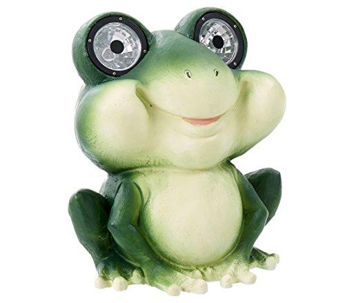 Dehner Dekofigur Solarleuchte Frosch Fridolin ca. 31.7 x 26.7 x 26.7 cm, Kunststoff/Polyresin, grün/creme