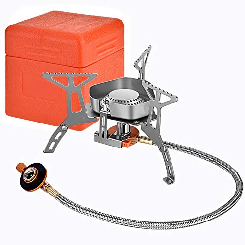 Camping Gas Stove Burner, Windproof Backpacking Stove, 3500 W Strong Firepower with Piezo Ignition, Portable Folding Lightweight Stainless Steel Camp Stove for Hiking, Outdoor, Cooking Propane Butane