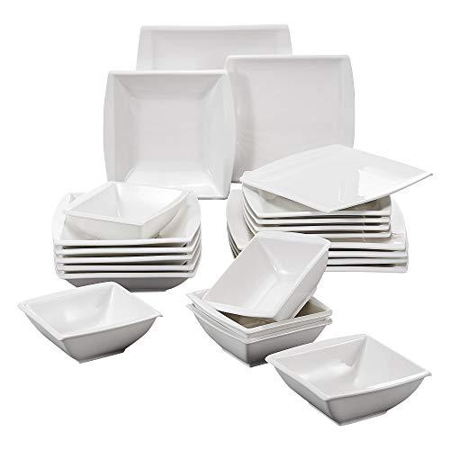 MALACASA, serie Blance, 24 piezas Marfil Blanco Crema Porcelana China Cerámica Vajilla Set de 6 x 5,75