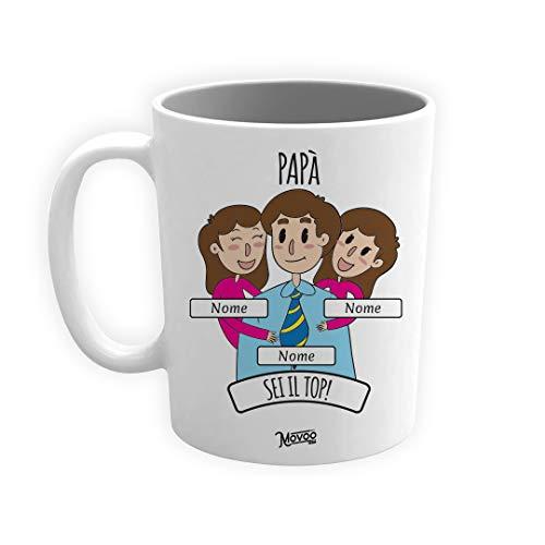 Tazza Papà Top Tazza/Mug Idea regalo Lavabile Festa del Papà Ceramica Personalizzata con Nomi