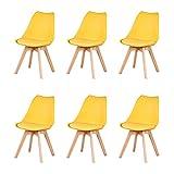 Nordic Time Un conjunto de 4/6 diseño ergonómico, silla de comedor tapizada, 83 cm x 48 cm x 47 cm, adecuado para comedor, dormitorio, sala de recepción (amarillo, 6)