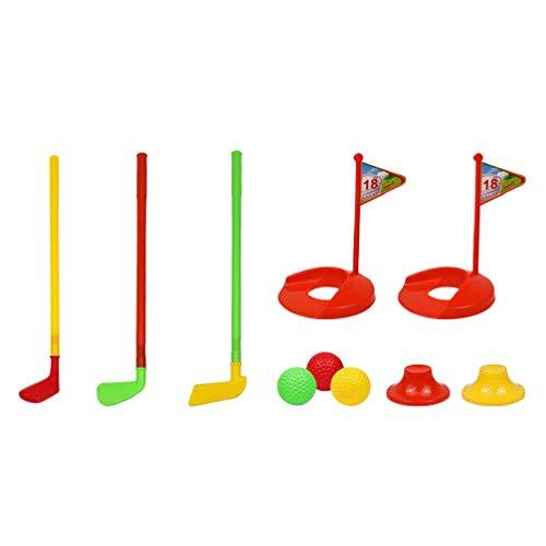 Kisangel 1 Juego de Club de Golf para Niños Juego de Juguete Deportivo para Golfistas con 3 Palos de Golf 3 Bolas 2 Agujeros de Práctica Y Bases de Juguete de Desarrollo Físico para Niños