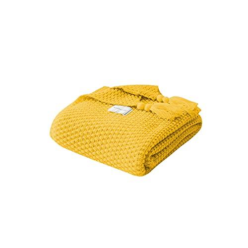 NTUOO Borla de Punto Bola mantón de Lana Manta sofá Invierno cálido Acogedor Blankets Mantas para Oficina Siesta Aire Acondicionado Colcha Ropa de Cama para el hogar