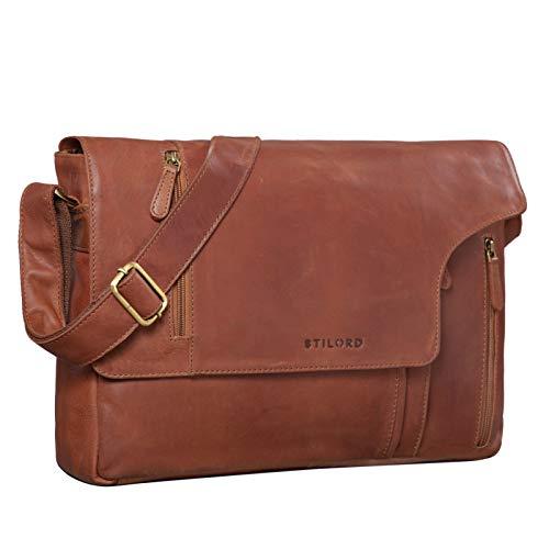 STILORD 'Enrico' lederen schoudertas heren vintage boodschappentas met 15,6 inch laptopvak aktetas grote werktas van echt leer, Kleur:cognac - bruin