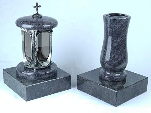 designgrab Alu Grablampe aus Aluminium in Antikoptik mit Kreuz und Grabvase Taille-medium und 2 Stück Sockel eckig in Granit Orion Blue/Vizac Blue