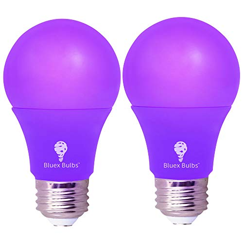 2 Pack BlueX LED A19 Purple Light Bulb - 9W (60Watt Equivalent) - E26 Base LED Purple Bulb, Party Decoration, Porch, Home Lighting, Holiday Lighting, Decorative Illumination (Purple)
