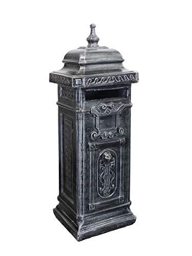 Antike Fundgrube Englischer Briefkasten freistehend aus Beton in schwarzsilber   nostalgisch Postkasten Standbriefkasten   H: 110 cm (6540)