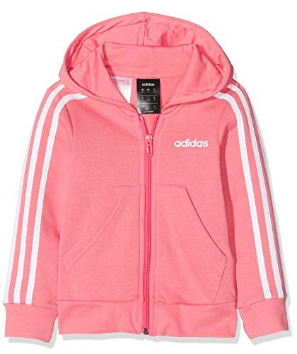 adidas Mädchen Essentials 3-Streifen Full Zip Hoody, Real Pink/White, 140