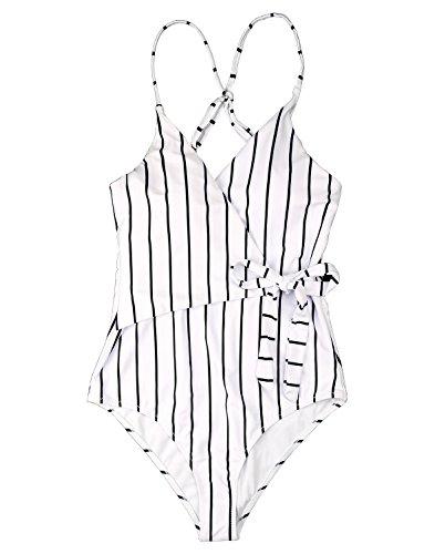 Fantastic Zone Women's Cute White Stripe One-Piece Swimsuit Beach Swimwear Bathing Suit Bikini