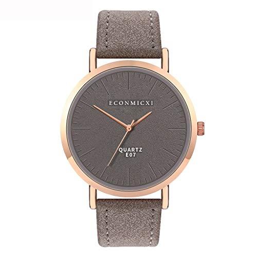 jieGorge ✔ Modische Damen-Armbanduhr mit Lederband, analog, rund, Quarz, kompakte Uhr (grau)