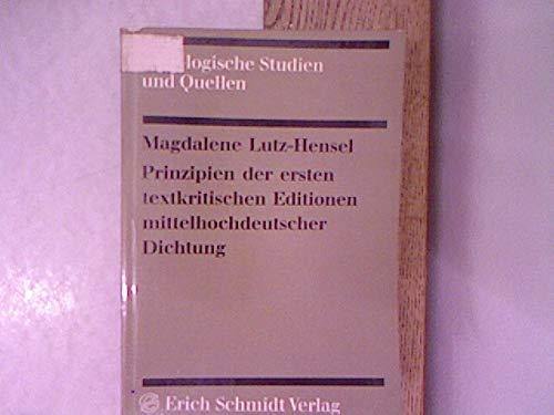 Prinzipien der ersten textkritischen Editionen mittelhochdeutscher Dichtung.