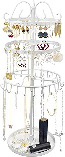 3 Tiers Rotating Earring Necklace Organizer Holder, 88 Holes for Earrings, Tray for Rings, Exquisite Metal Jewelry Display Tower Stand Necklace Hanger - 23 Hangers for Bracelets (White)