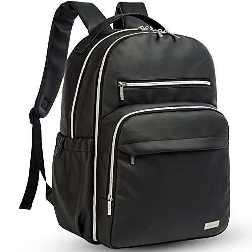 Waterproof Diaper Bag Backpack - Vegan Leather, Stylish, Large, Multifunctional Baby Diaper Bags, Travel Back Pack, Maternity Baby Changing Bags, Unisex Nappy Changing Bag - Black Diaper Bag