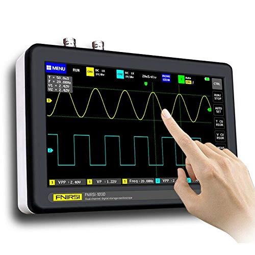 S SMAUTOP Oscilloscopio digitale 2 canali, Oscilloscopio da tablet Oscilloscopio portatile con memoria, larghezza di banda 100 mhz e frequenza di campionamento 1 gs, touch screen LCD Tft da 7 pollici