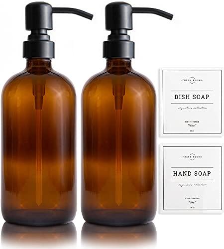 Vine Creations Amber Glass Soap Dispenser 2 Pack, Thick 16oz Bottles Rustproof Stainless Steel Pump, Modern Farmhouse Vintage Jar, Bathroom Kitchen Accessories, with Waterproof Labels (Matte Black)