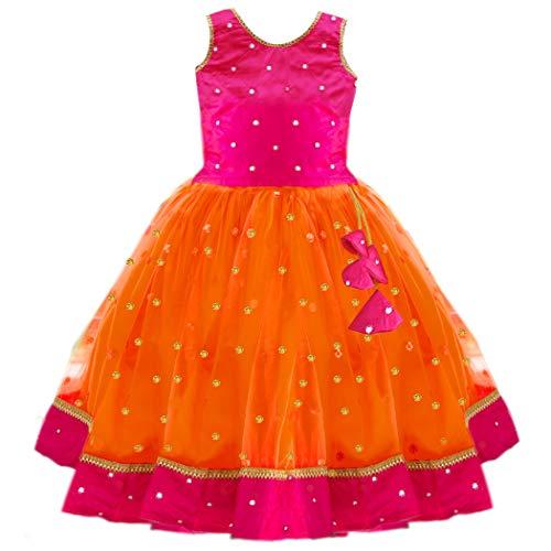 Stanwells Kids Baby Girls Net Readymade Lehenga Choli (AM031-O26_Orange_6-7 year)
