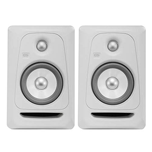 "KRK Rokit RP5G3 5"" Powered Limited Edition White Studio Monitor Speakers Pack"