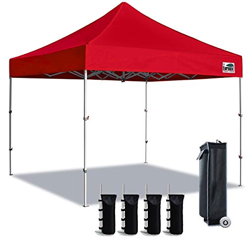 """Eurmax 10x10 Super Compact 40"""" High Storage Size Canopy Tent, Full Truss Design Commerical EZ Pop Up Canopy Tent Instant Shelter,Bonus 4PC Pack Weight Bag(Red)"""