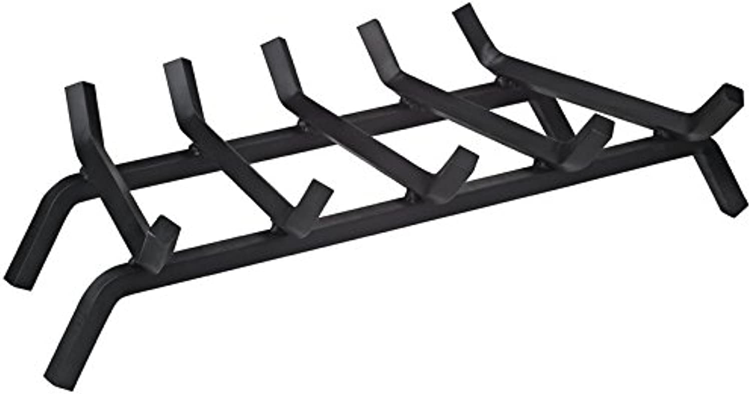 "Rocky Mountain Goods Heavy Duty Fireplace Grate - Solid Metal Bar Log Holder Grate with 3 4"" Bars - Rack Heater for Wood Stove with Heavy Gauge Wrought Iron Bars (27 )"