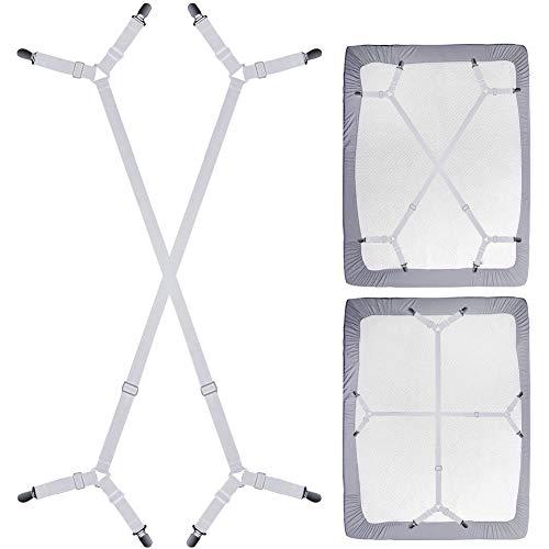 Sayopin - Tensor de sábanas ajustable, elástico, con clips de metal para colchón, tabla de planchar o sofá (4 unidades en cruz, clip/blanco)