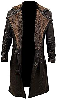 Men's German WW2 Belted Brown Real Leather Trench Long Winter Coat