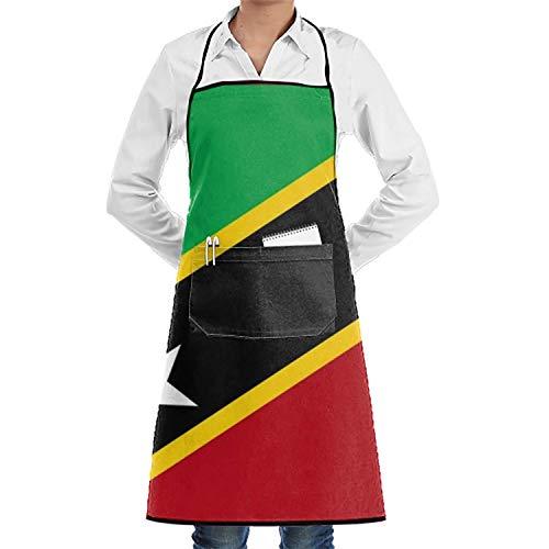 N\A Flagge Saint Kitts Flat verstellbare Schürze mit Taschen Plus Size für Frau Damen
