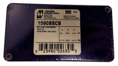 Hammond 1590BSCB Cobalt Blue Diecast Aluminum Enclosure -- Inches (4.39 x 2.37 x 1.50) mm (112mm x 60mm x 38mm) by Hammond Manufacturing