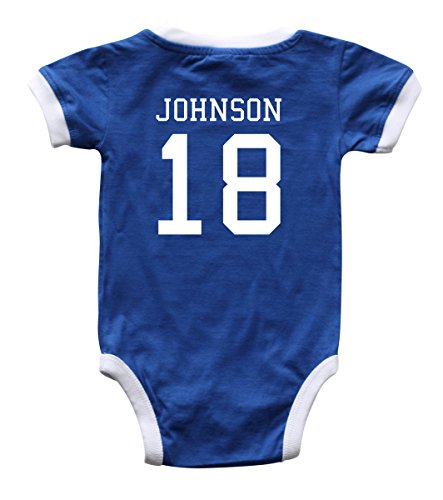Custom Soccer Sport Jersey Baby Bodysuit Personalized with Name and Number (6M (3-6 Months), Royal Blue)