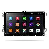 Radio 2 DIN Android para VW, Radio Coche Bluetooth con 9 '' Pantalla Táctil de Alta Definición, Estéreo de Coche GPS para VW Passat Golf MK5 MK6 Jetta T5 EOS Polo + Cámara de Marcha Atrás de 8 LED