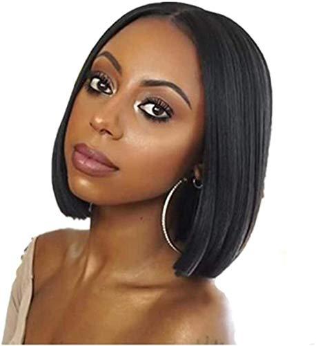 Perruque de Mode Noire Courte Droite en Dentelle Avant rebondissant Capuchon en Fibre Chimique pour Cheveux mi-Longs