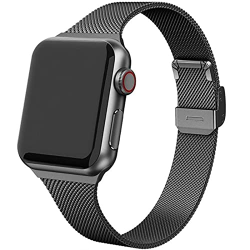 Correa de bucle milanesa para Apple Watch Band 38MM 40MM 44MM 40MM para iwatch 6 / se / 5/4/3/2/1 Correa de reloj de metal-Negro, 44 ​​mm