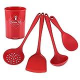 Silicone Cooking Utensil Set 5PCS,Silicone Kitchen Utensil Set Non‑Stick Rice Spoon Spatula Shovel Cooking Set with Storage Bucket,Best Kitchen Gadgets Kitchen Tool Set Gift