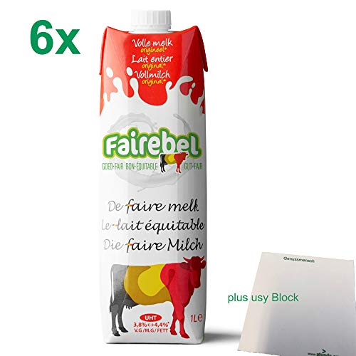 Fairebel die faire Milch Vollmilch 3,8 - 4,4 % Fett UHT (6x 1 Liter) + usy Block
