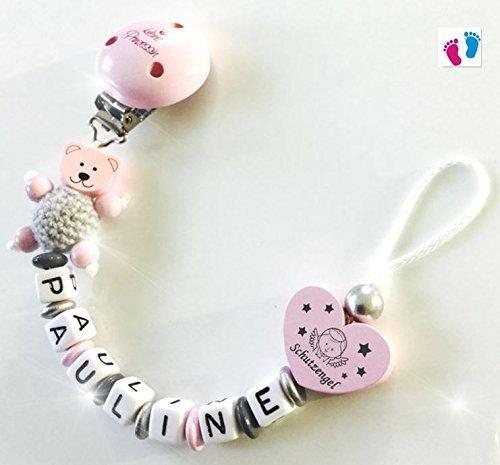 MiniPerle - Schnullerkette mit Namen - Kleine Prinzessin - Schutzengel