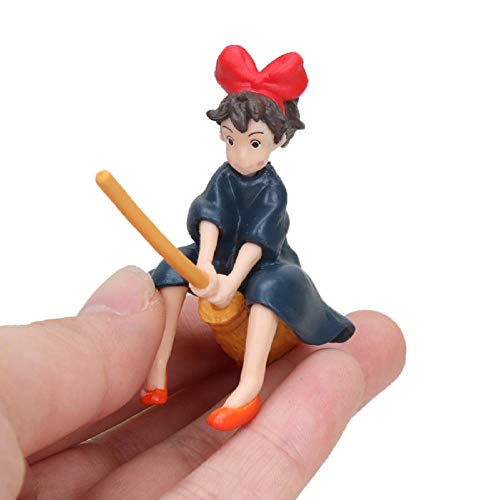 VENDISART Cute Anime Hayao Miyazaki Kiki's Delivery Service Kiki Sit On The Broom To Fly Action Figure Toy Model gift6cm 1 Piece