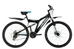 """26"""" Hi tensile steel dual suspension mountain bike frame with Zoom suspension forks 21 speed Shimano gears with Microshift rotational shifters Front and rear mechanical disc brake with wavey style disc rotors, black alloy rims and sure grip mountain ..."""