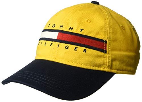 Tommy Hilfiger Men's Dad Hat Avery, Golden Glow/Navy Blazer, O/S