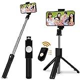 SOOTEWAY Palo Selfie Móvil Stick Bluetooth con Trípode para Viaje Autofoto Extensible de Control Remoto Monopié 3 en 1 Obturador Deportivo Rotación 360 Grados para iPhone XS Samsung Huawei Xiaomi