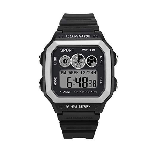 Yvelands Männer Analog Digital Military Army Sport LED wasserdichte Armbanduhr(Weiß,Free)