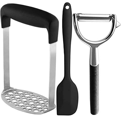 Artcome Stainless Steel and Good Grips Smooth Potato Masher Ergonomic Design Sturdy Construction with Stainless Steel Peeler Silicone Spatula and Magic Sponge Eraser