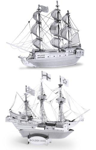 Metal Earth 3D Laser Cut Steel Models - Black Pearl Ship AND Golden Hind Ship SET OF 2