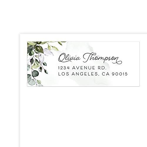 Custom - Large Return Address Labels Sticker, Personalized Address Labels (Greenery 1, Set of 16)