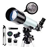 Telescopio astronómico para principiantes, telescopio catadióptrico para niños de 50 mm, telescopio National Geographic HD 90X, con trípode + lente Barlow 1.5X + filtro lunar, para estudiantes niñ