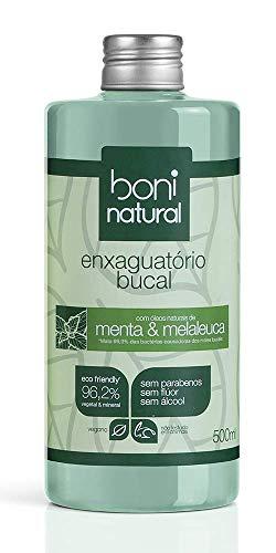 Enxaguante Bucal Natural e Vegano, Sem Flúor, Menta e Melaleuca, Boni Natural, 500ml, Boni Natural, Verde, 500