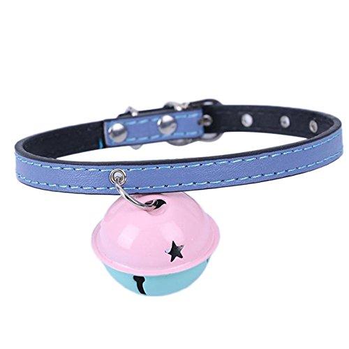 Demarkt Collar para perros y gatos con campana, PU lila, 27 x 1 cm