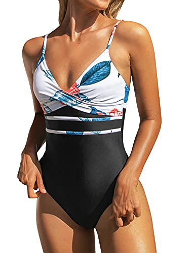 CUPSHE Damen Badeanzug Wickeloptik Lace Up Monokini Blumenmuster Figurformend Shape Einteilige Bademode Swimsuit Mehrfarbig M